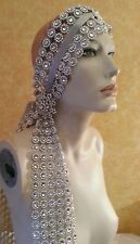 Gatsby 20's Flapper Silver Illusion Jewel Look Crystal Bridal Headpiece Party
