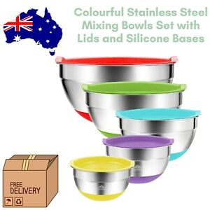 Stainless Steel Mixing Bowls 5 Set Australia with Lids Silicone Grip Base Colour