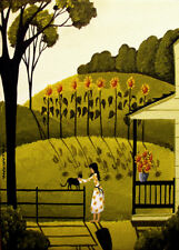 Sunflower love lady black cat girl landscape Giclee ACEO print folk art Criswell
