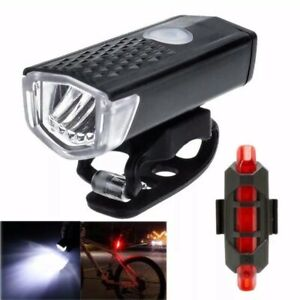 Bicycle Lights USB LED Rechargeable Set Mountain Cycle Bright Front Headlight