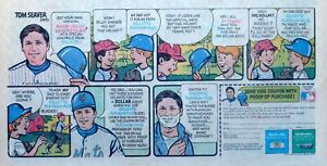 Gillette razor ad - Tom Seaver Souvenir Batting Helmet, 1971 large comic ad page