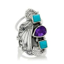 CHACO CANYON STERLING SILVER COUTURE AMETHYST AND TURQUOISE FAN RING SIZE 7 HSN