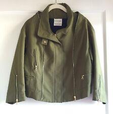 Emanuel Ungaro Olive Green Moto Gold Zipper Jacket Coat Size 42 6 8 Italy