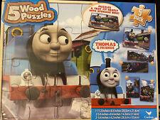 THOMAS TRAIN  5 Wood Puzzles Storage Box Tray Learn Puzzle New Sealed