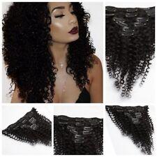 Black Kinky Curly Clip in 100% Virgin Human Hair Weave Mongolian Hair Extensions