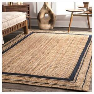 natural rug large boho rug eco friendly blue border vintage custom size yoga mat
