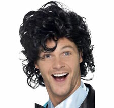 Mens 80s Prom King Perm Wig Black Rock Retro Fancy Dress Afro Mullet Roll Curly
