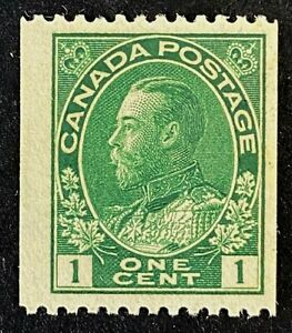 Canadian Stamp, Scott #131 1c 1915 Perf 12 Horiz Coil green VF M/NH