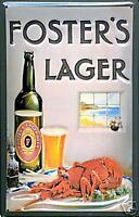 Fosters Lager (Lobster) embossed metal sign (hi 3020)