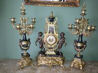 IMPERIAL BREVETATTO ITALY BRONZE MARBLE CLOCK WITH CANDELABRAS SET