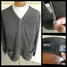 Hugo Boss Brown Full Zip Sweater Large Jacket Cardigan Merino Wool Pockets