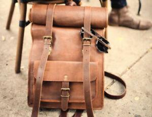 Genuine Leather Rolling Back Pack Rucksack Travel Bag unisex school office