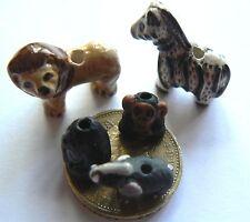 From Peru Ceramic Jungle Animals Zebra, Chimp, Gorilla, Lion, Elephant x 5 beads