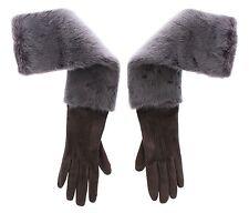 NWT $2640 DOLCE & GABBANA Gray Mink Fur Lambskin Suede Leather Gloves s. 8 / M