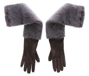DOLCE & GABBANA Gray Mink Fur Lambskin Suede Leather Gloves s. 8 / M RRP $2640