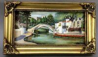Antique Original Oil Mini Painting Signed Joe Beautifully Framed Landscape