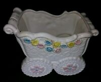 Vintage NAPCO Colorful Baby Carriage Planter with Daisies & Roses, C- 8289