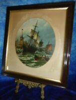 Maritime Print SHIPS, HARBOUR + STORMY SEA Nautical Art, Oleograph, Lithograph