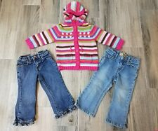 Lot Of 3 Toddler Girl 24 Months Children's Place Jeans Greendog Hoodie Sweater