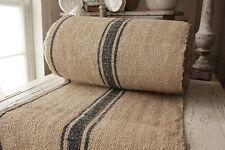 Vintage table / STAIR RUNNER grain sack fabric yardage blue stripe linen 4yd