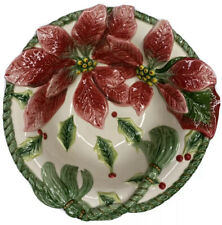 Fitz And Floyd Christmas Poinsettia Bowl Dish Potpourri Candy For All Seasons