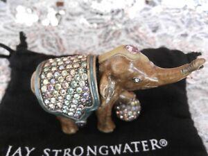 JAY STRONGWATER BARNUM ELEPHANT TRINKET/RING BOX WITH SWAROVSKI CRYSTALS