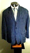 Saks Fifth Avenue Blue Striped 100% Linen Two Button Blazer Jacket Coat Large