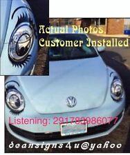 VW bug beetle SILVER sparkle car Eyelash oval round headlight Volkswagen shiney