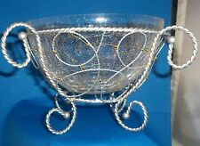 Crackle Glass Silver Scroll Metal Decorative Bowl Container Accent 2 Pieces NEW