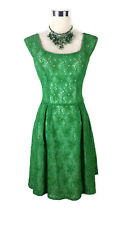 REVIEW Dress - 1950s/60s Vintage Retro Style Emerald Green Floral Lace Boat - 8