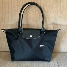 Auth Longchamp Classic Le Pliage CLUB BLACK Nylon Small Tote Leather Strap
