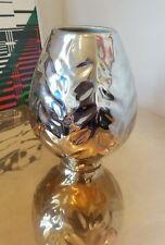 "Jonathan Adler Mod Design Footed Bulb Silver MCM style Pottery Vase 6 5/8"" Rare!"