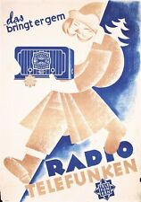 VINTAGE ORIGINAL 1935 GERMAN RADIO TELEFUNKEN ADVERTISING POSTER w/ SANTA