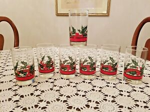 7 LIBBEY CHRISTMAS HOLIDAY 8 oz GREEN HOLLY, RED BERRIES & RED RIBBON TUMBLERS