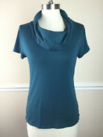 Ann Taylor Factory Womens Top Fitted Cowl Neck Short Sleeve Stretch Blue Size M