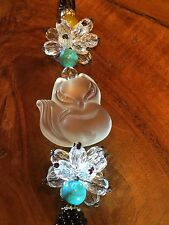 lucky white feng shui cat mobile with  beads and crystal