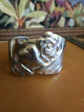 Flower Cuff Bracelet Mexico Signed Hand Heart