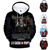 Money Heist Mens Hoodie Cotton Pullover Sweather Tops 3D Print Casual Cosplay