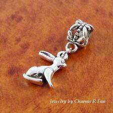 Bunny Rabbit dangle charm sliding bead for silver European bracelet or necklace