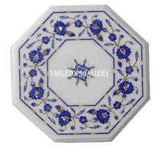 """12"""" Marble Side Coffee Table Top Lapis Floral Stone Inlay Furniture Decor H953"""