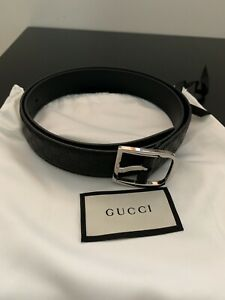 Gucci GG Gommino Black Leather Belt Size 90