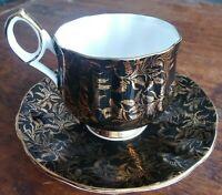 Stunning Elizabethan Bone China Tea Cup And Saucer Black Gold