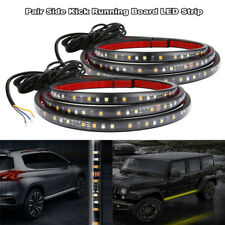 "2x 24"" White/Amber Running Board Side Step LED Light Strip Turn Signal DRL Bar"