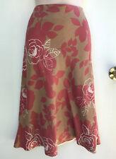 BODEN Silk / Linen Bias Cut Caramel Brown & Red  Floral Skirt sz Uk 14