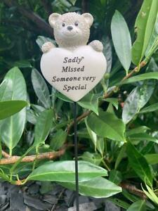 Someone Special Teddy Bear Heart Stick Memorial Tribute Plaque Child Remembrance