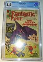 Fantastic Four #21 CGC 5.5, FN-,WP, 1963, 1st app. Hate-Monger, Sgt. Fury xover