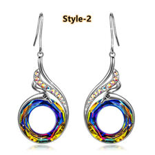 Gorgeous 925 Silver Drop Earrings for Women Crystal Jewelry A Pair/set