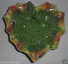 Bordallo Pinheiro Portugal Art Pottery Green Leaf Shaped Tri-Footed Serving Dish