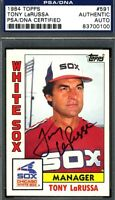 Tony Larussa Psa/dna Authenticated Signed 1984 Topps Autograph