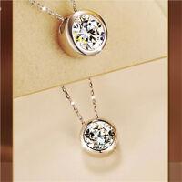 Fashion Women Round Single Crystal Rhinestone Silver Pendant Necklace Jewelry